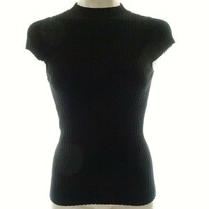 Express S Top Sweater Short Sleeve Ribbed High Nec